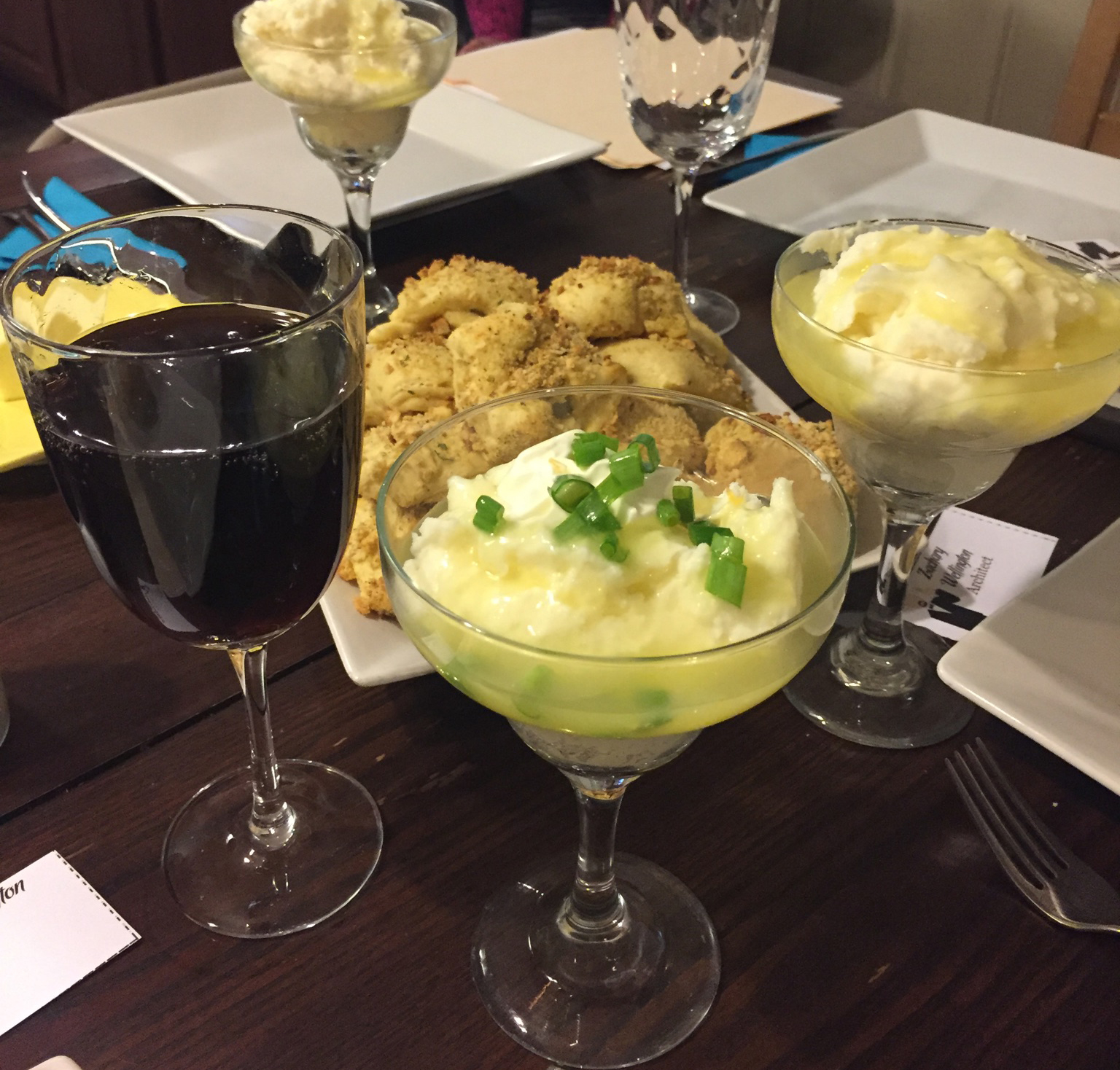 Mashed potato bar for murder mystery party